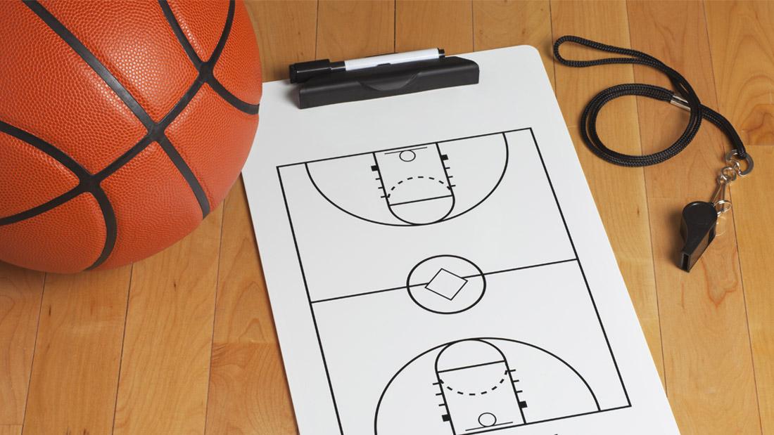 Coach clipboard and basketball